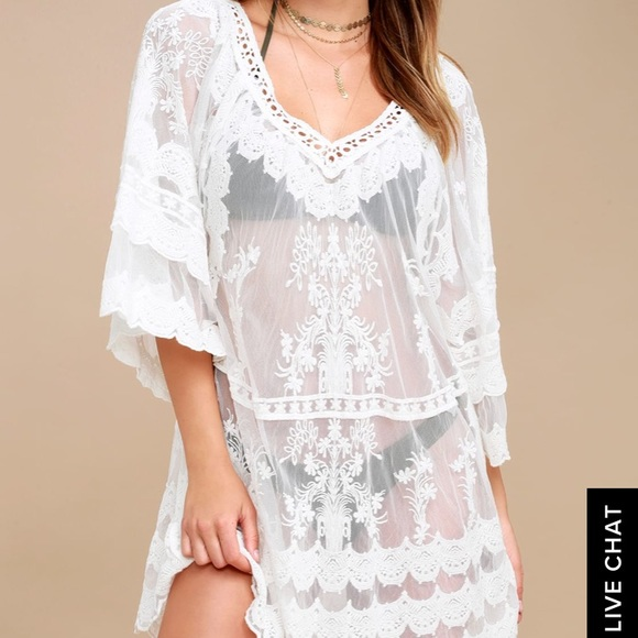 7a611ef025a Lulu's Swim | White Lace Beach Coverup | Poshmark